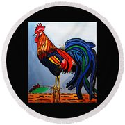 Doodle  Dum  Rooster Round Beach Towel