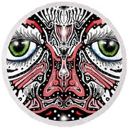 Round Beach Towel featuring the digital art Doodle Face by Darren Cannell