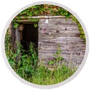 Round Beach Towel featuring the photograph Door Ajar by Christopher Holmes