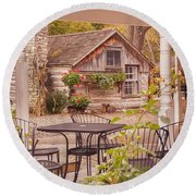 Round Beach Towel featuring the photograph Door County Thorp Cottage by Heidi Hermes