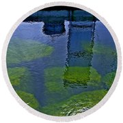 Round Beach Towel featuring the photograph Door County Reflections by Perry Andropolis