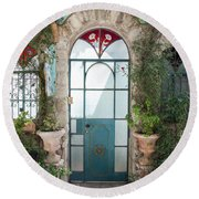 Round Beach Towel featuring the photograph Door Entrance To The Art by Yoel Koskas