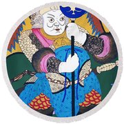 Round Beach Towel featuring the painting Door Guard No.1 by Fei A