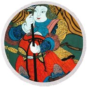 Round Beach Towel featuring the painting Door Guard No.2 by Fei A