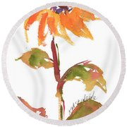Door Keeper Sunflower Watercolor Painting By Kmcelwaine Round Beach Towel