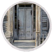 Door Of The Old Bannack Schoolhouse And Masonic Temple Round Beach Towel