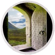 Door To The Moor Round Beach Towel