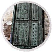 Door To The Roman Gateway Round Beach Towel