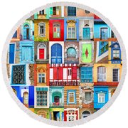 Doors And Windows Of The World - Vertical Round Beach Towel