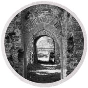 Doors At Ballybeg Priory In Buttevant Ireland Round Beach Towel