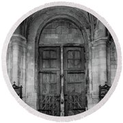 Round Beach Towel featuring the photograph Poissy, France - Doors From Within, Notre-dame De Poissy by Mark Forte