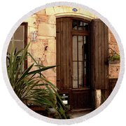 Doorway At Number 12 Round Beach Towel by Victoria Harrington