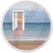 Doorway To The Future Round Beach Towel by Gill Billington