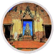 Doorway To Wat Ratburana In Ayutthaya, Thailand Round Beach Towel