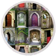 Doorways To The Past Round Beach Towel