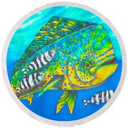 Dorado And Pilot Fish - Mahi Mahi Fish Round Beach Towel