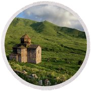 Dorband Monastery In The Field, Armenia Round Beach Towel