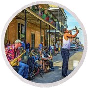 Doreen's Jazz New Orleans - Paint Round Beach Towel