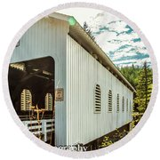 Dorena Covered Bridge Round Beach Towel