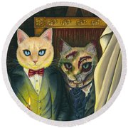 Round Beach Towel featuring the painting Dorian Gray by Carrie Hawks