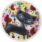 Dorothy Cat Round Beach Towel by Abril Andrade Griffith