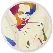 Dorothy Dandridge Watercolor Round Beach Towel