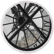 D'orsay Clock Paris Round Beach Towel