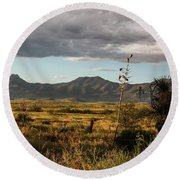 Dos Cabezas Grasslands At Dusk Round Beach Towel