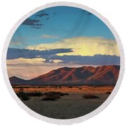 Dos Cabezos Sunset Serenity Round Beach Towel