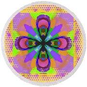 Dots A Flower Round Beach Towel