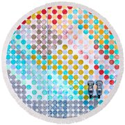Dots, Many Colored Dots Round Beach Towel