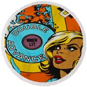 Double Advance - Pinball Round Beach Towel by Colleen Kammerer