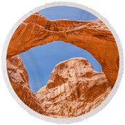 Double Arch At Arches National Park Round Beach Towel