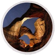 Double Arch At Night Round Beach Towel