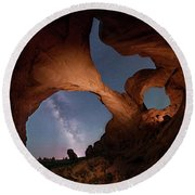 Round Beach Towel featuring the digital art Double Arch And The Milky Way - Arches National Park - Moab, Utah 2 by OLena Art Brand