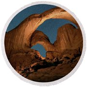 Double Arch And The Milky Way - Arches National Park - Moab, Utah By Olena Art - Brand  Round Beach Towel