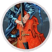 Double Bass And Bench Round Beach Towel