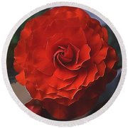 Double Begonia Bloom Round Beach Towel