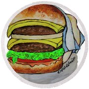Double Cheeseburger Round Beach Towel
