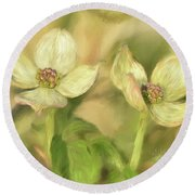 Round Beach Towel featuring the digital art Double Dogwood Blossoms In Evening Light by Lois Bryan