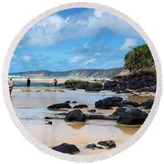 Double Island Point  Round Beach Towel