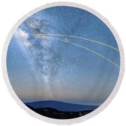 Double Lasers With The Milky Way Panorama Round Beach Towel
