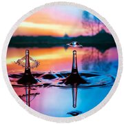 Round Beach Towel featuring the photograph Double Liquid Art by William Lee