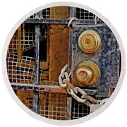 Round Beach Towel featuring the mixed media Double Locked by Lynda Lehmann