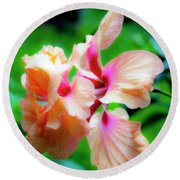 Double Peach Hibiscus Two Round Beach Towel