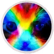 Round Beach Towel featuring the painting Double Rainbow Cat by David Lee Thompson
