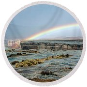 Double Rainbow Round Beach Towel