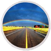 Double Rainbow Over A Road Round Beach Towel