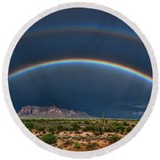 Round Beach Towel featuring the photograph Double Rainbow  by Saija Lehtonen