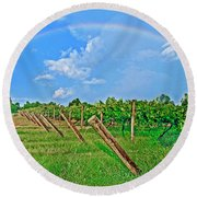 Double Rainbow Vineyard, Smith Mountain Lake Round Beach Towel